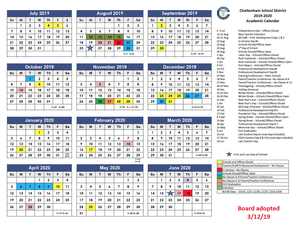 Board Adopts 2019-2020 Academic Calendar